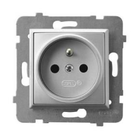 Gniazdo pojedyncze z uziemieniem srebrne GP-1UZ/m/18 ARIA OSPEL