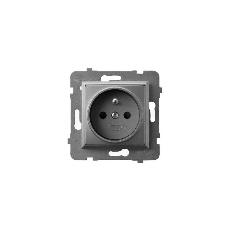 Gniazda-pojedyncze-podtynkowe - gniazdo pojedyncze podtynkowe z uziemieniem szary mat gp-1uz/m/70 aria ospel firmy OSPEL
