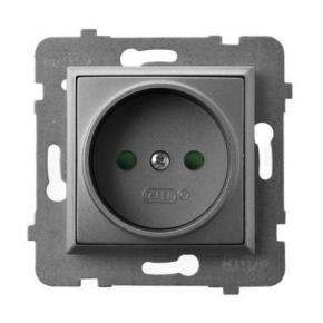 Gniazda-pojedyncze-podtynkowe - kontakt elektryczny pojedynczy z przesłonami torów szary mat gp-1up/m/70 aria ospel