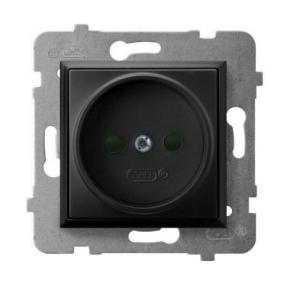 Gniazdo elektryczne pojedyncze z przesłonami torów prądowych czarny metalik GP-1UP/m/33 ARIA OSPEL