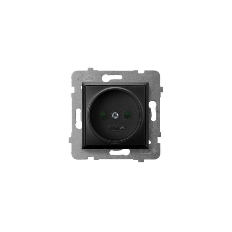 Gniazda-pojedyncze-podtynkowe - gniazdo elektryczne pojedyncze z przesłonami torów prądowych czarny metalik gp-1up/m/33 aria ospel firmy OSPEL