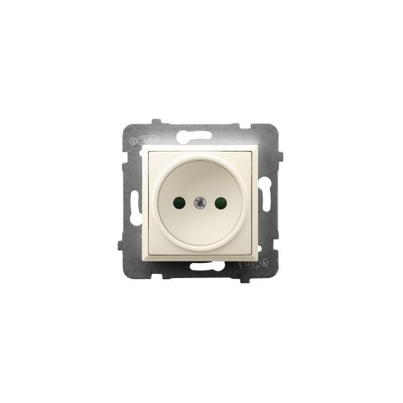 Gniazda-pojedyncze-podtynkowe - gniazdo pojedyncze z przesłonami torów prądowych ecru gp-1up/m/27 aria ospel firmy OSPEL