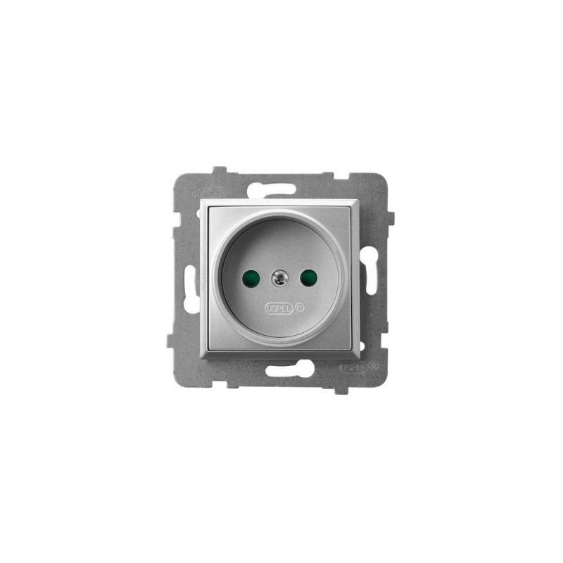 Gniazda-pojedyncze-podtynkowe - gniazdo pojedyncze z przesłonami torów prądowych srebrne gp-1up/m/18 aria ospel firmy OSPEL
