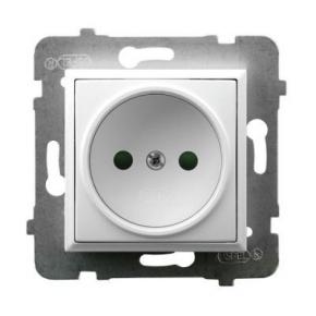 Gniazdo elektryczne pojedyncze z przesłonami torów prądowych białe GP-1UP/m/00 ARIA OSPEL
