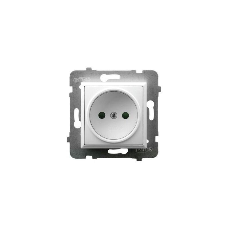 Gniazda-pojedyncze-podtynkowe - gniazdo elektryczne pojedyncze z przesłonami torów prądowych białe gp-1up/m/00 aria ospel firmy OSPEL