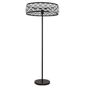 Lampy-stojace - lampa podłogowa z ozdobnymi kryształami czarna e27 20w il mio vejle polux