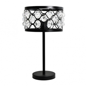 Lampki-nocne - lampa na stolik nocny z kryształkami czarna 20w e27 il mio vejle polux