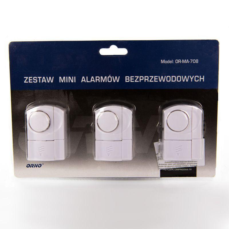 Sygnalizatory-wejscia-magnetyczne - zestaw 3 mini alarmów bezprzewodowych or-ma-708 orno firmy ORNO