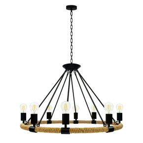 Lampy-sufitowe - lampa wisząca sufitowa czarny/beżowy 8x10w led e27 il mio rope arthur polux