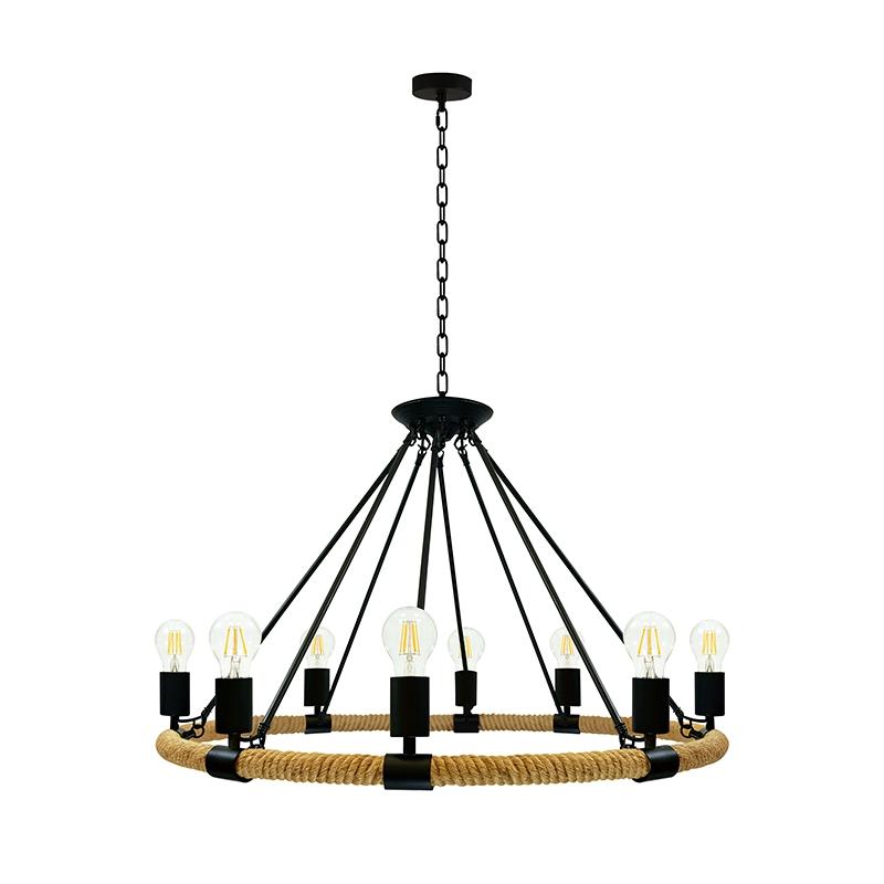 Lampy-sufitowe - lampa wisząca sufitowa czarny/beżowy 8x10w led e27 il mio rope arthur polux firmy POLUX