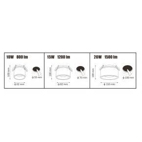 Oprawy-sufitowe - oczko przegubowe podtynkowe czarne haron 10w 800lm polux