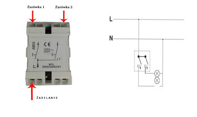 Schemat podłączenia podwójnego włącznika światła